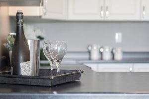 Picture of wine glasses in new kitchen